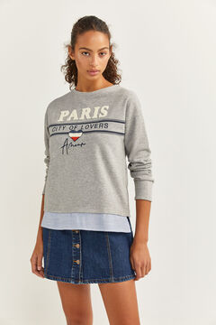 Springfield Two-material Slogan Sweatshirt gray