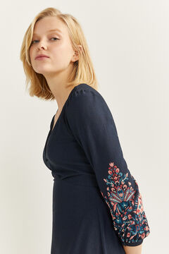 Springfield Ikat Borders Midi Dress blue
