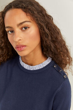 Springfield Two-material Flounced Collar Jumper blue