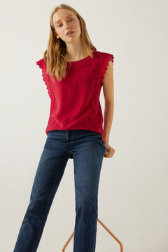 Springfield Two-material lace trim shoulders t-shirt 36