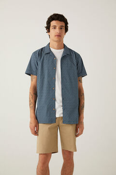 Springfield Floral print short-sleeved shirt navy mix