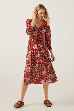Springfield Printed midi dress brown