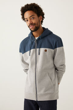 Springfield Colour block zip-up hooded sweatshirt  gray
