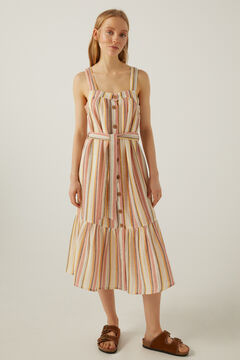 Springfield Double weave striped midi dress medium beige