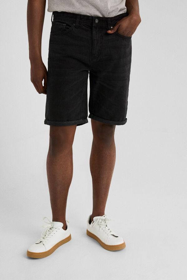 51e1dca75c88fa Springfield Black denim Bermuda shorts regular fit black