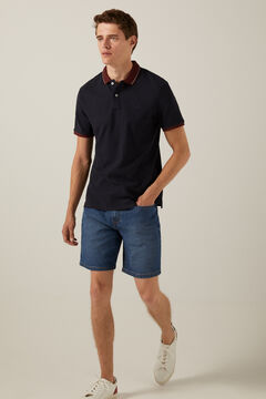 Springfield Waffle polo shirt with contrast collar navy