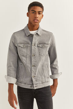 Springfield MEDIUM WASH GREY STRETCH DENIM JACKET. gray