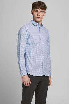 Springfield Slim fit stretch long-sleeved shirt blue mix
