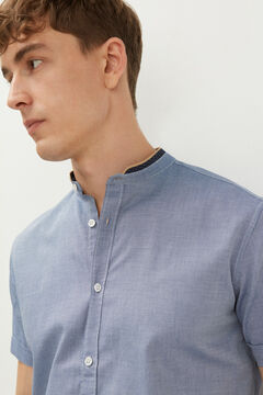 Springfield Dobby short-sleeved mandarin collar shirt bluish