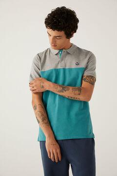 Springfield Slim colour block polo shirt grey