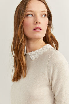 Springfield Lace Collar T-shirt stone