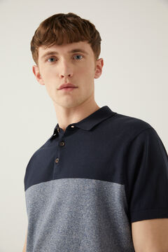 Springfield Colour block jersey-knit polo shirt blue
