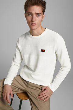 Springfield Micro textured logo jumper white
