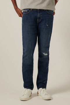 Springfield Medium-dark wash slim fit jeans with rips bluish