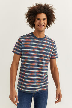 Springfield MULTICOLOURED STRIPES T-SHIRT navy mezcla