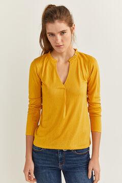 Springfield Camiseta cuello minivolantes amarillo