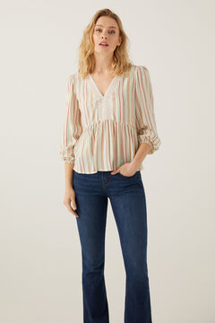 Springfield Multi-coloured striped blouse medium beige