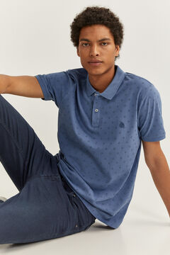 Springfield ESSENTIAL SLIM FIT ALL-OVER POLO SHIRT blue