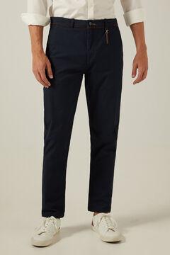 Springfield Mikromintás chino slim nadrág, kulcstartóval kék