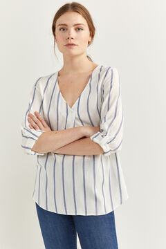 Springfield V-neck striped blouse natural