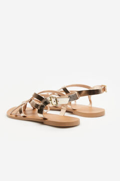 Springfield Woven metallic leather sandals color