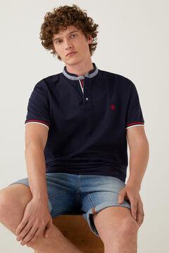 Springfield Slim fit double mandarin collar polo shirt bluish