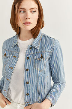 Springfield Striped Denim Jacket steel blue