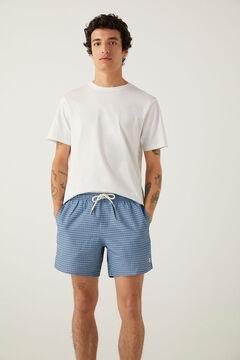 Springfield Badeshorts mit Print Tasche Reißverschluss blau