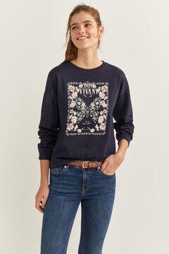 "Springfield ""Bon Vivant"" Floral Butterfly Sweatshirt blue"