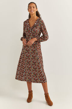 Springfield Printed Flounced Neckline Dress black