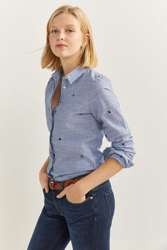 Springfield Striped Embroidery Blouse bluish