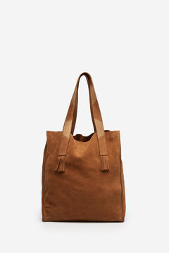 Springfield Fringed Handles Suede Bag brown