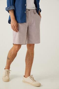 Springfield Textured two-tone casual Bermuda shorts terracotta