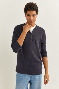 Springfield Henley long sleeve t-shirt navy