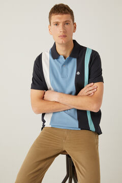 Springfield Horizontal striped piqué polo shirt blue