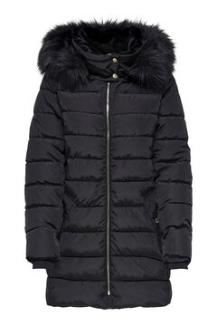 Springfield Fur hood quilted coat black