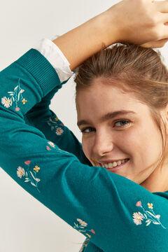 Springfield Virághímzéses pulóver kétanyagú mandzsettával zöld