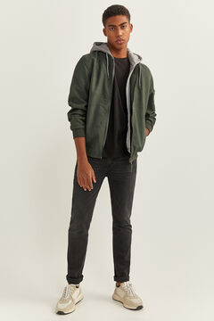 Springfield FAUX LEATHER BOMBER JACKET WITH REMOVABLE HOOD dark green