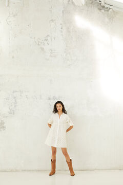 Springfield Swiss embroidery voluminous shirt dress white
