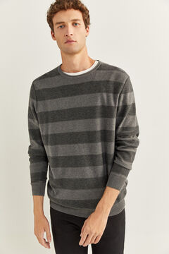 Springfield PULL FINITION ROULÉ RAYURES gris