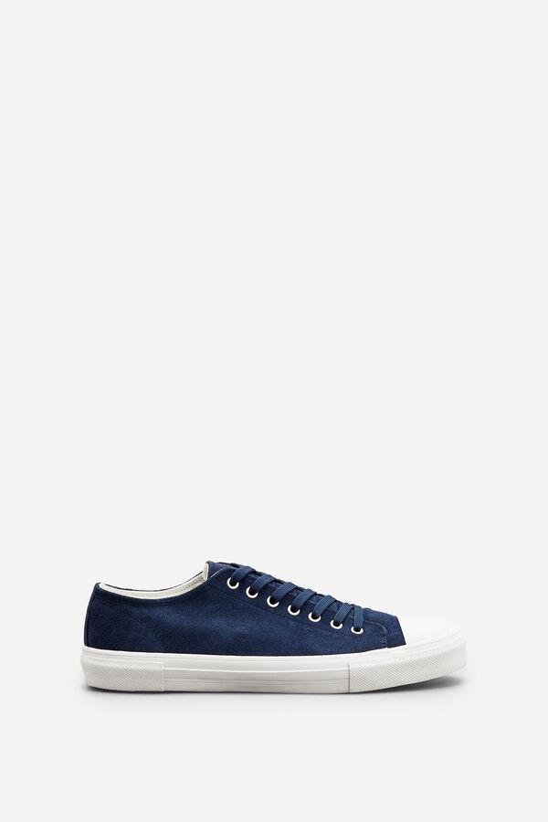 Springfield Sneaker puntera goma en piel serraje azul f0bb38cf2e1