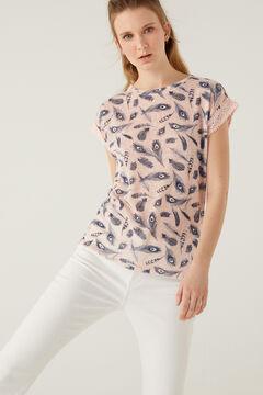 Springfield Printed crochet sleeves T-shirt pink