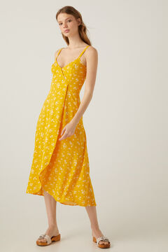 Springfield Long printed crossover dress golden
