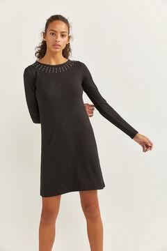 Springfield Kleid Kragen Perlen schwarz
