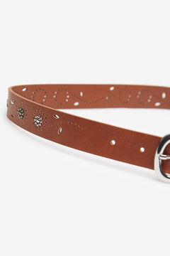 Springfield Faux Suede Cutwork Belt brown