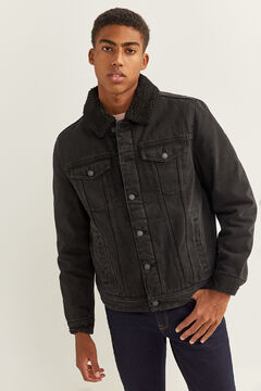 Springfield WASHED BLACK DENIM JACKET WITH SHEEPSKIN. black