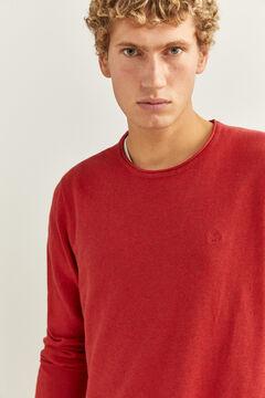 Springfield Klassischer Pullover Baumwolle Ellenbogenschützer rot