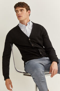 Springfield JERSEY-KNIT BUTTONED CARDIGAN black
