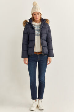 Springfield Fur Hood Quilted Jacket blue