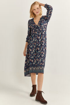 Springfield Long Floral Print Dress blue